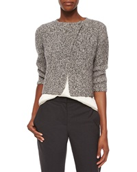 Brunello Cucinelli Asymmetric Tweed Paillette Cardigan