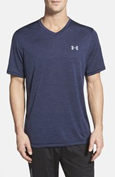 Men's Under Armour 'Ua Tech' Loose Fit Short Sleeve V Neck T Shirt Midnight Navy Steel