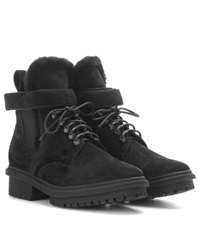 Balenciaga Shearling Lined Suede Boots Black