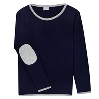 Orwell Austen Cashmere Navy And Silver Elbow Patch Sweater Blue Silver