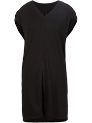 Rick Owens Drkshdw Loose Fit V Neck Long T Shirt Black