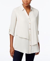 Jm Collection Petite Tiered Blouse Only At Macy's Stonewall