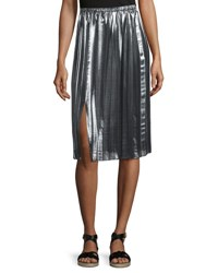 Etoile Isabel Marant Madlen Pleated Metallic Midi Skirt Silver