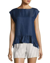 Laundry By Shelli Segal Slouchy Ruffle Cropped Blouse Blue