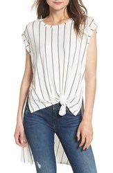 Love Fire High Low Knot Front Top White Black Stripe