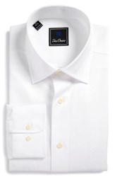 David Donahue Men's Big And Tall Regular Fit Solid Dress Shirt White
