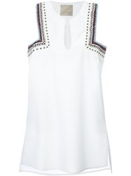 Laneus Embroidered Shoulder Dress White