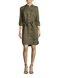 Saks Fifth Avenue Solid Spread Collar Shirtdress Olive Green