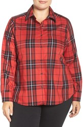 Foxcroft Plus Size Women's Tartan Wrinkle Free Shirt Holiday Red