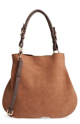 Sole Society Roman Faux Leather Slouchy Tote Brown Cognac Combo