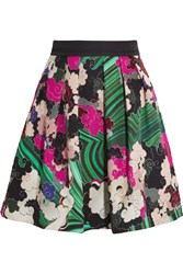 Mary Katrantzou Algernon Printed Silk And Cotton Blend Mini Skirt Green Pink