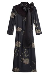 Marc Jacobs Printed Silk Dress With Lace Black
