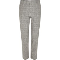 River Island Mens Grey Check Print Skinny Fit Suit Trousers