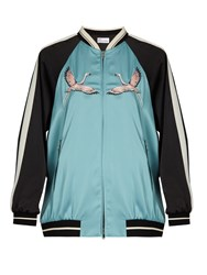 Red Valentino Embroidered Contrast Sleeve Satin Bomber Jacket Blue Multi