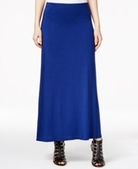 Kensie Solid Knit Maxi Skirt Navy