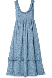 Hatch The Rafaela Ruffled Floral Print Cotton Jacquard Midi Dress Blue