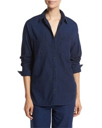 Vince Rinsed Denim Patch Pocket Shirt Dark Blue