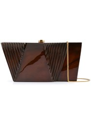 Rocio Wasabi Sculpted Box Clutch Brown