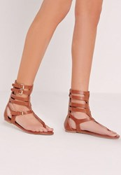 Missguided Strappy Ankle Flat Gladiator Sandals Tan