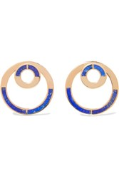 Pamela Love Quarter Gold Tone Lapis Lazuli Earrings Blue
