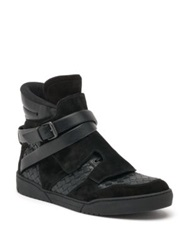 Bottega Veneta Hawk Wrapped Ankle Strap Leather And Suede High Top Sneakers Black