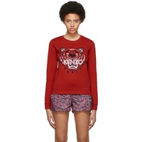 Kenzo Red Limited Edition Embroidered Tiger Sweatshirt 21 Dark Red