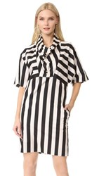 Nina Ricci Striped Cowl Neck Dress Ecru Black