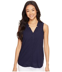 Hatley Split Neck Blouse Navy Cross Hatch Women's Blouse