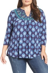 Lucky Brand Plus Size Women's Embroidered Bib Top