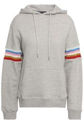 Alexachung Woman Striped French Cotton Terry Hoodie Light Gray