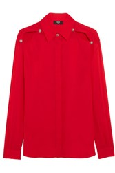 Versus By Versace Cutout Chiffon Shirt Red