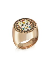 Azhar Calavera Skull Rhodium Plated Sterling Silver Adjustable Ring W Cubic Zirconia Pink