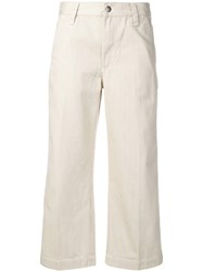 Marc Jacobs Cropped Striped Trousers Neutrals
