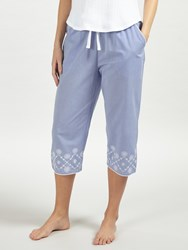 John Lewis June Embroidered Cropped Pyjama Bottoms Blue White