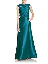 Theia Beaded Shawl Collar Dress Teal