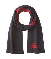 Lacoste Large Contrast Croc Jacquard Wool Scarf Midnight Red Wine Scarves Black