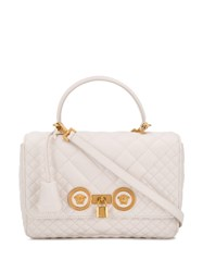 Versace Quilted Icon Shoulder Bag White