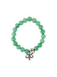 Gemco Bead Diamond Charm Bracelet Green