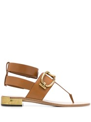Tod's T Bar Sandals Brown