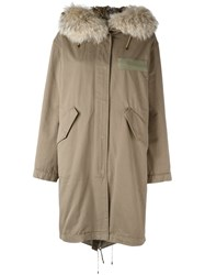 Yves Salomon Hooded Knee Length Parka Coat Green