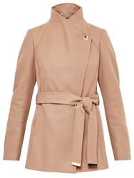 Ted Baker Elethea Short Button Detail Wrap Coat Camel