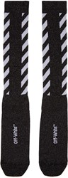 Off White Black Diagonal Shiny Socks