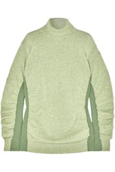 Maison Martin Margiela Mm6 Paneled Ruched Wool Blend Turtleneck Sweater Light Green