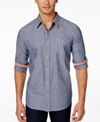 Weatherproof Long Sleeve Chambray Dobby Woven Shirt Medium Blue