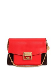 Givenchy Small Gv3 Leather And Suede Shoulder Bag Red Brown