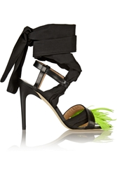 Msgm Feather Trimmed Leather And Poplin Sandals