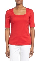 Women's Lafayette 148 New York Swiss Cotton Rib Square Neck Tee Lafayette Red