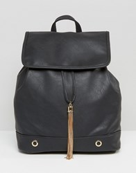 Yoki Fashion Structured Backpack With Gold Tassel Black