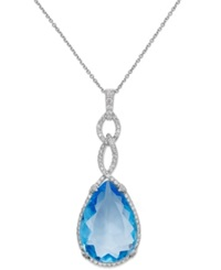 Macy's Blue Topaz 25 Ct. T.W. And Diamond 9 10 Ct. T.W. Pendant Necklace In 14K White Gold