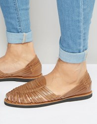 Kg By Kurt Geiger Woven Sandals In Tan Leather Tan